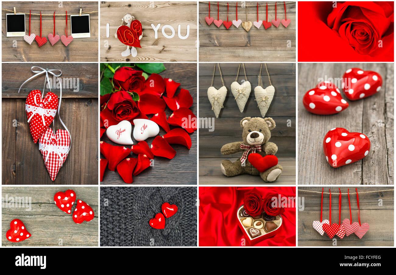 Valentinstag Karte Konzept. Rote Herzen, Rosen-Blumen, Dekorationen ...