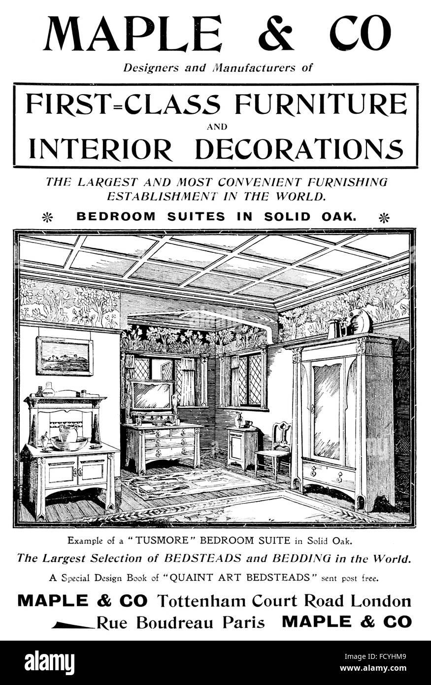 Ahorn & Co, Tusmore Schlafzimmer Möbel Werbung von 1900 The Studio ...