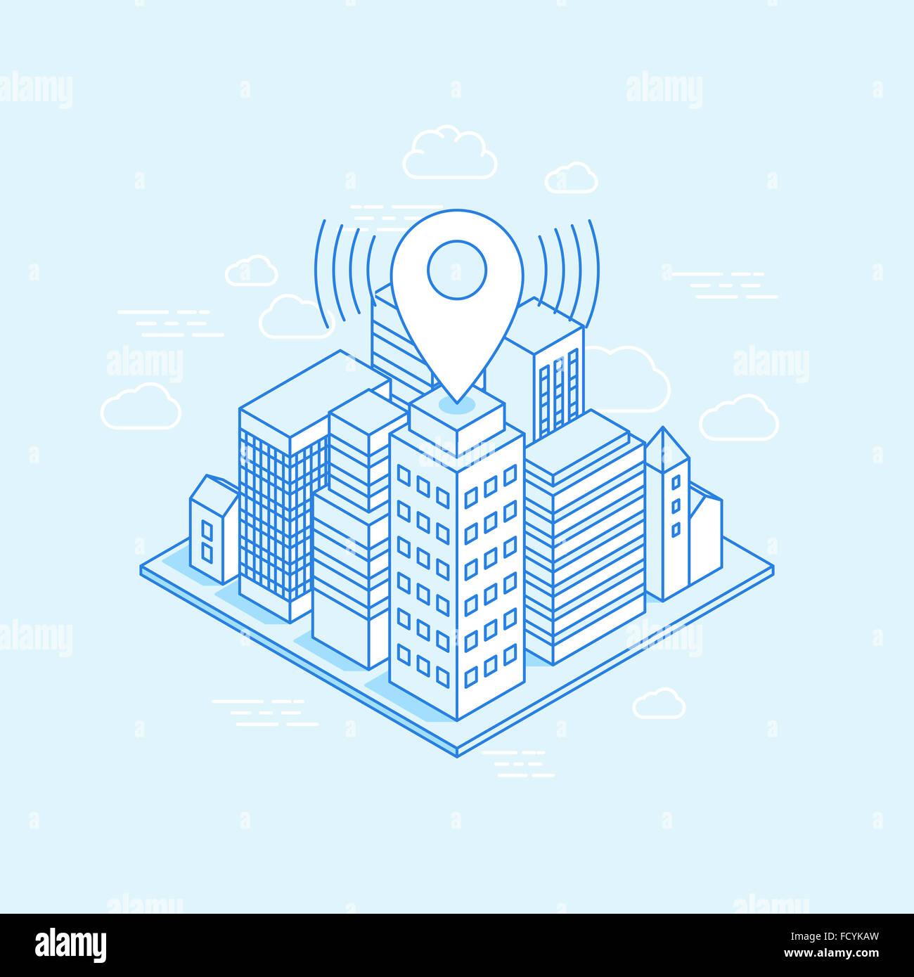 Isometrische Stadt Abbildung mit Karte Pin - Unternehmen-Standorte-Konzept - Darstellung mit Gebäuden in trendigen Stockbild