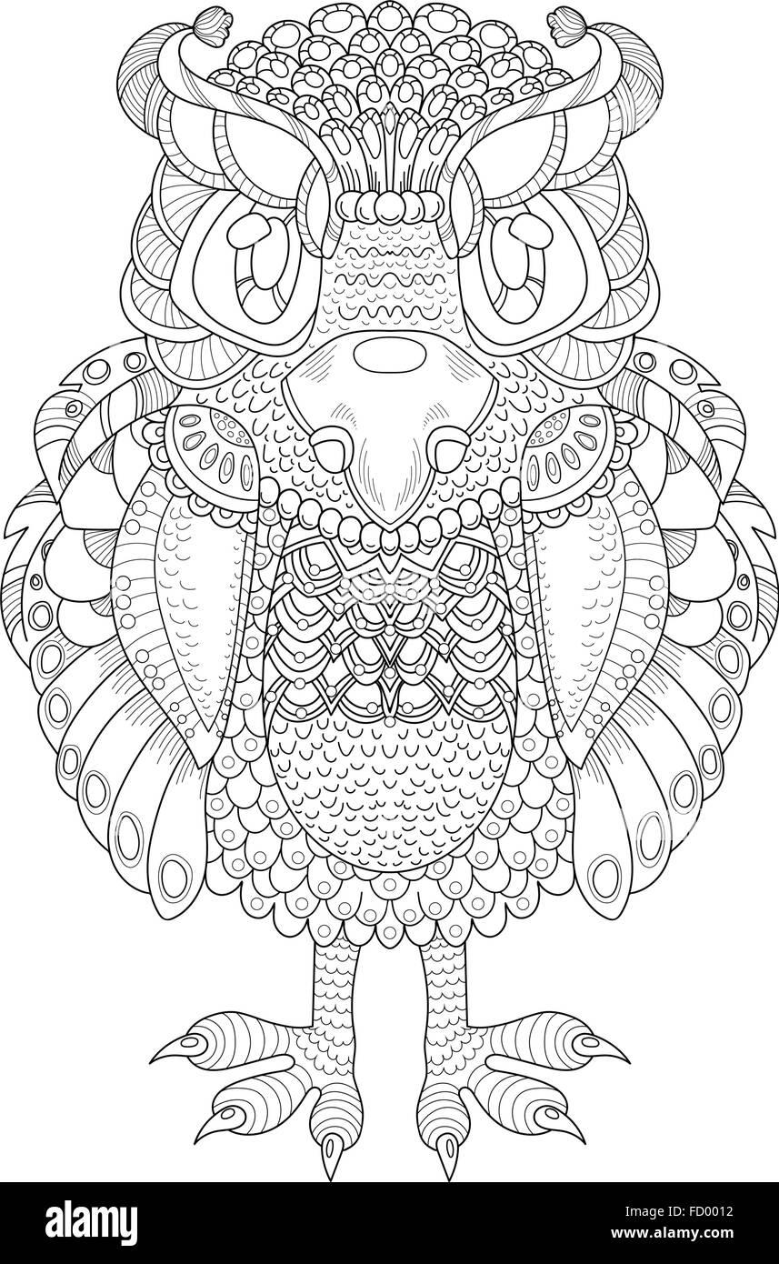 Vektormuster mit Totemtier - Eule. Coloring Book Seite für Erwachsene Stockbild