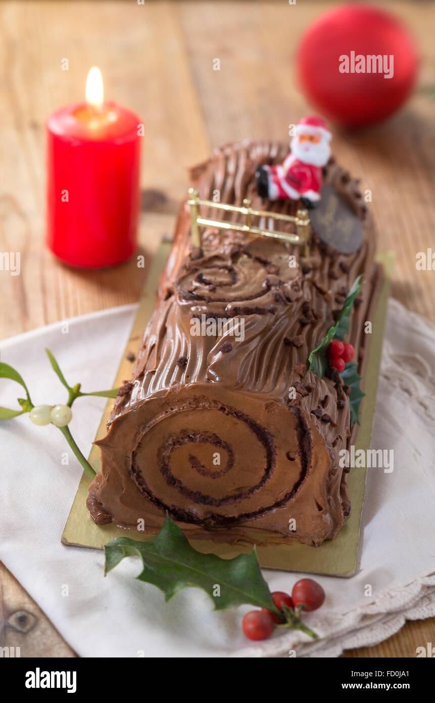 Yule Log Kuchen Traditionelle Weihnachten Zeit Teig Mit Kaffee