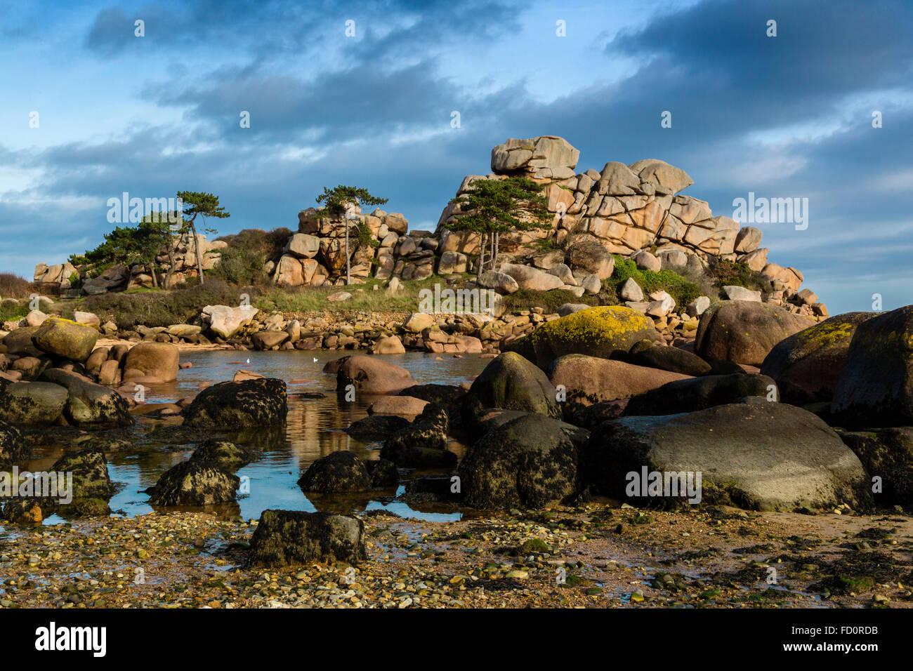 Frankreich, Bretagne, Côtes d ' Armor, der rosa Granit Küste bei Ploumanach, Gemeinde von Perros Guirec Stockbild