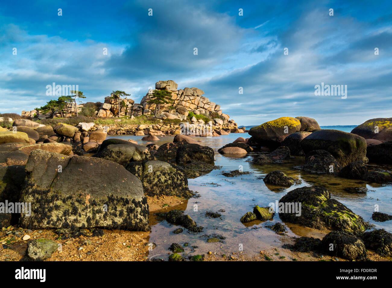 Frankreich, Bretagne, Côtes d ' Armor, der rosa Granit Küste bei Ploumanach, Gemeinde von Perros Guirec Stockfoto