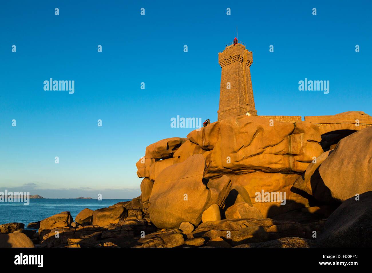 Frankreich, Bretagne, Côtes d ' Armor, der Männer Ruz Leuchtturm bei Ploumanach, Gemeinde von Perros Stockbild