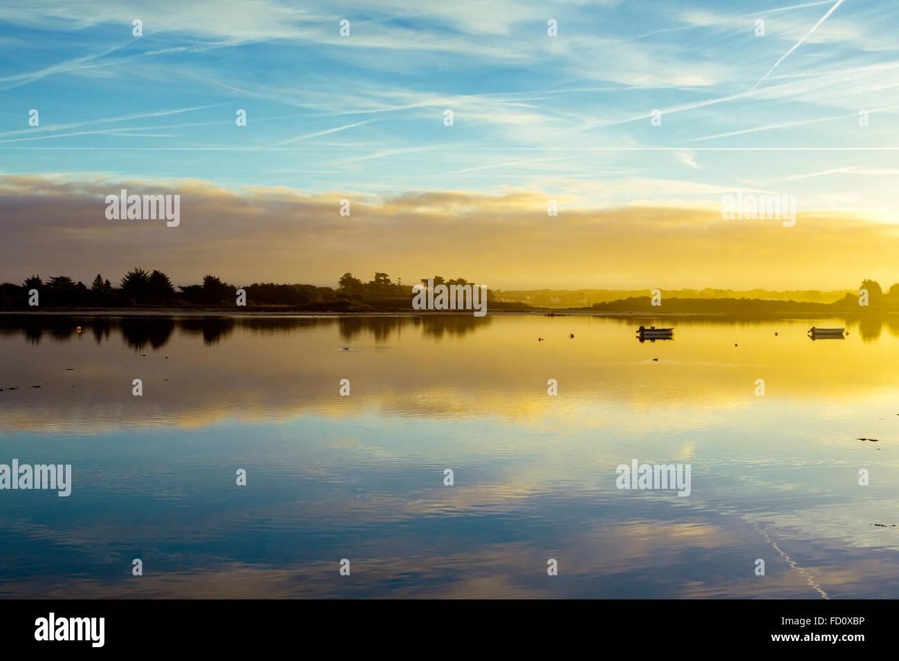Frankreich, Bretagne, Morbihan, die Insel Saint Cado de Belz in der Ria d Etel. Stockbild