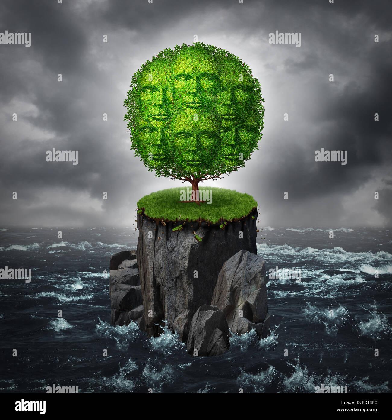 Community-Isolierung-Konzept als eine eine Gruppe von Menschen geformt wie ein Baum wächst auf einer isolierten Stockbild