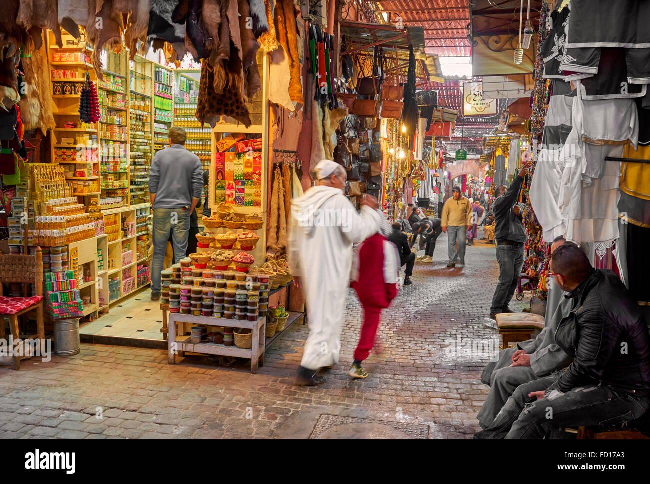 Medina von Marrakesch, lokalen Souk, Marokko, Afrika Stockbild