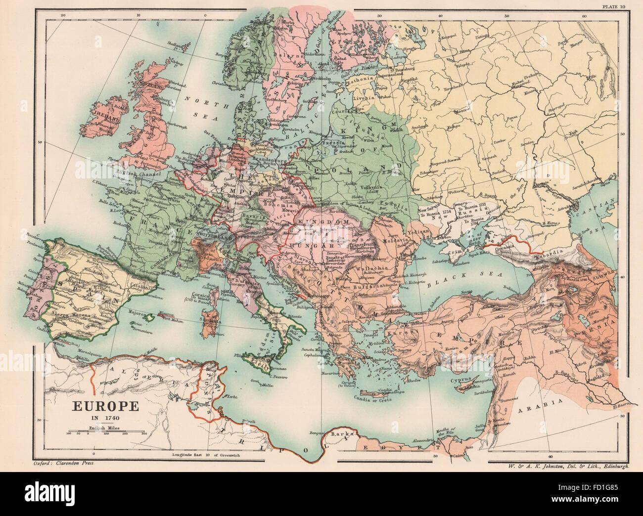 Heiliges Römisches Reich Karte.Europa In 1740 Frankreich England Heiliges Römisches Reich Spanien