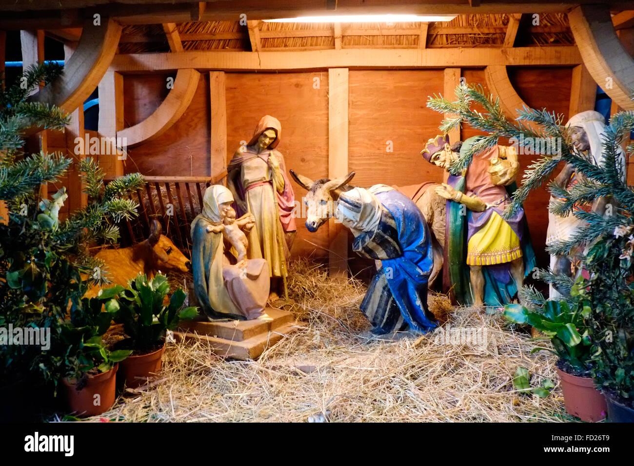 Eine Krippe eingerichtet in einer Kirche zu Weihnachten Stockfoto ...