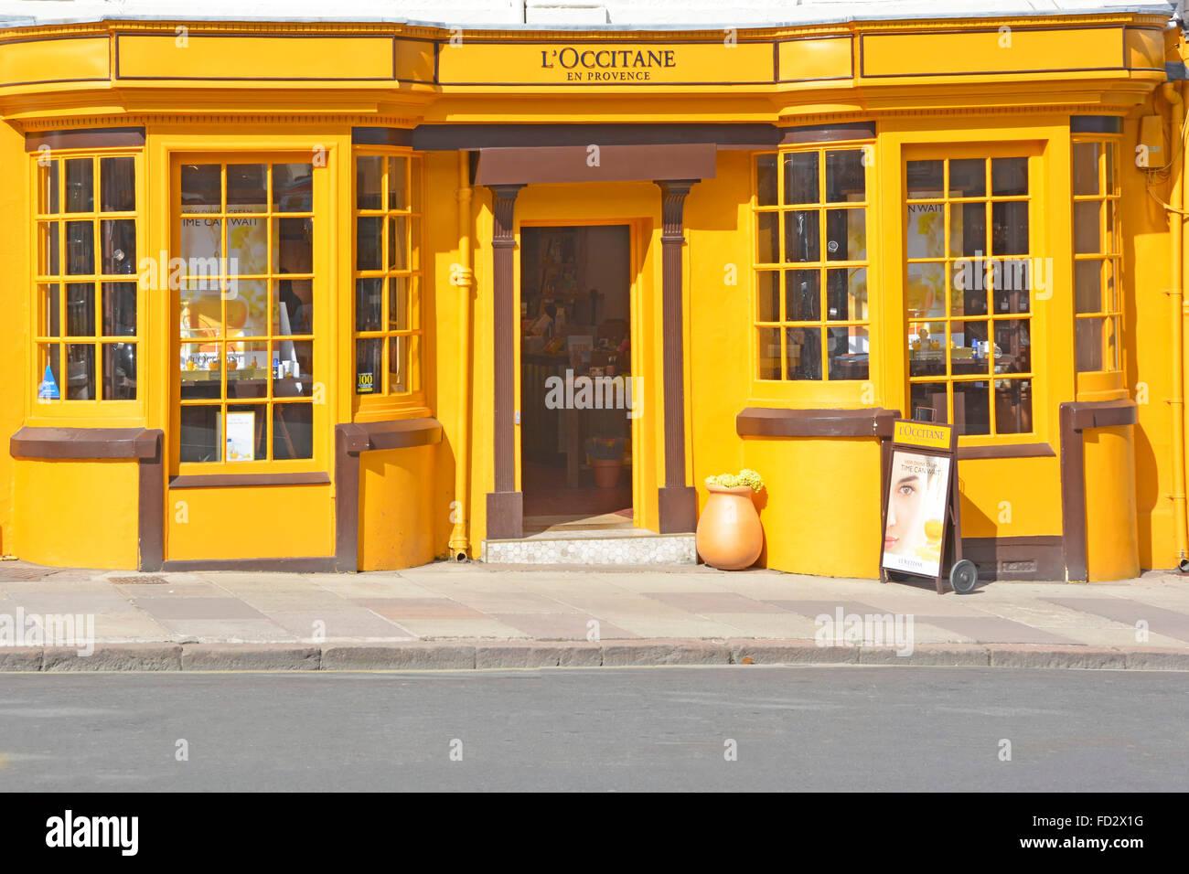 L ' Occitane En Provence Shop vertreibt Kosmetik & Beauty-Produkte (L'Occitane feiert & bewahrt Stockbild