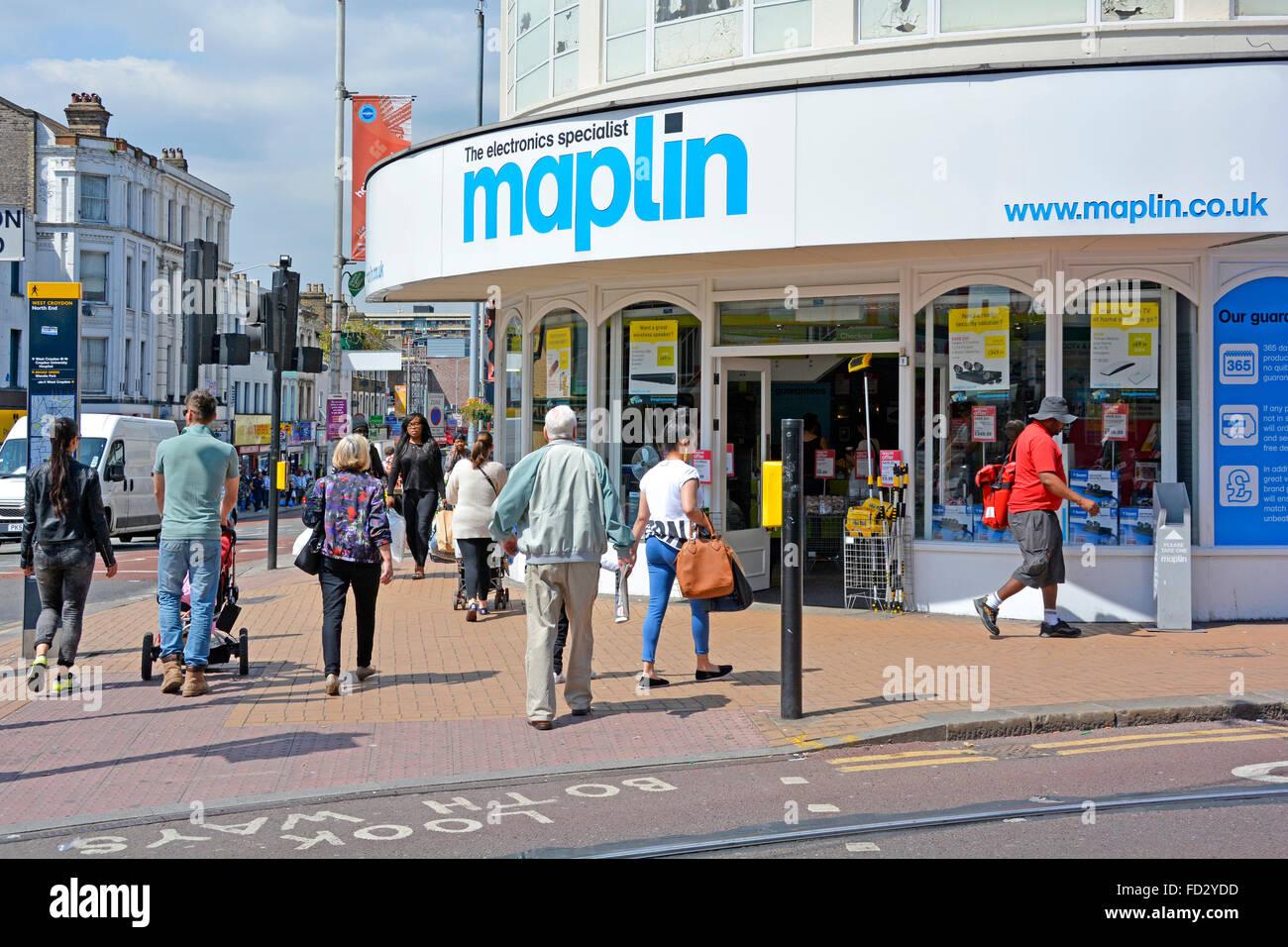 Maplin Elektronik Gadgets und Computing-Speicher befindet sich auf einer Ecke Website in Croydon London Stockbild