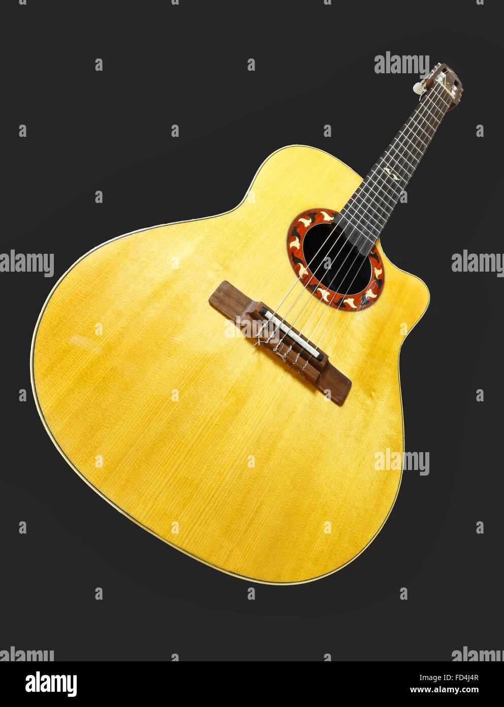 Eine klassische Gitarre aus Nahaufnahme mit Perspektive Stockbild