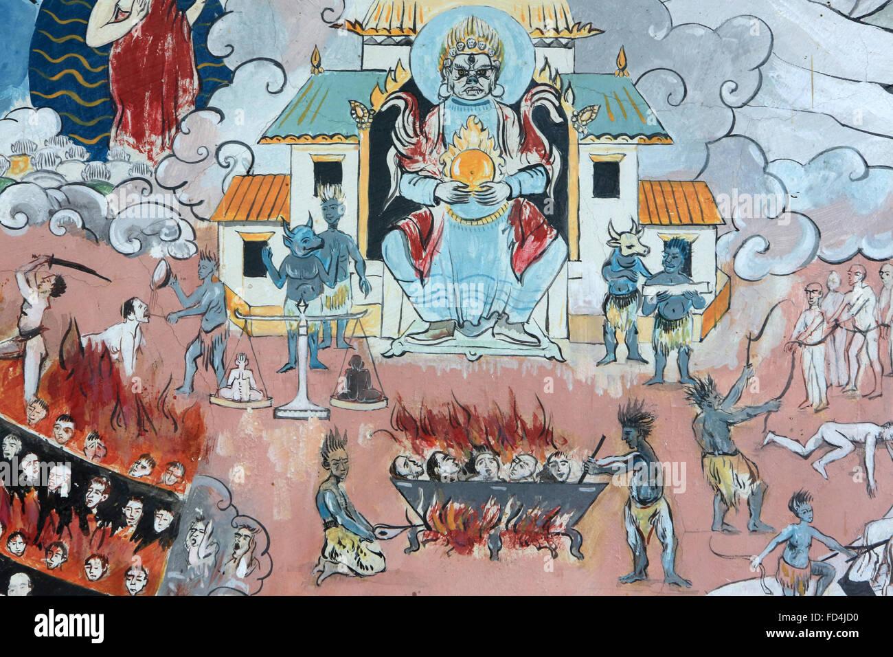 Mandala des Universums. Der heißen Hölle. Dashang Kagyu Ling Kongregation. Tempel der tausend Buddhas. Stockbild