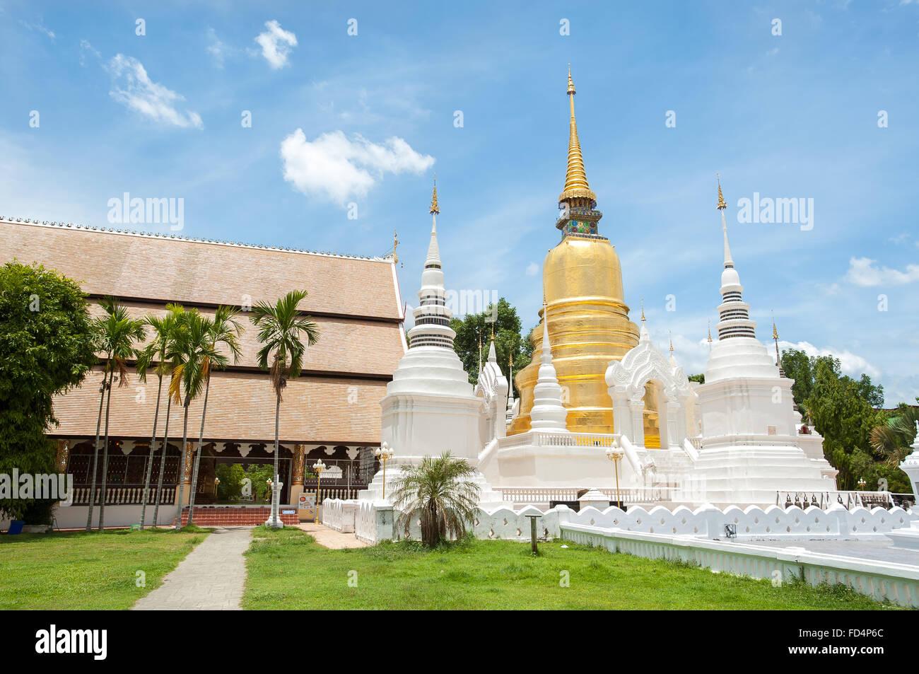 Außenaufnahme des Wat Suan Dok, Chiang Mai, Thailand Stockbild