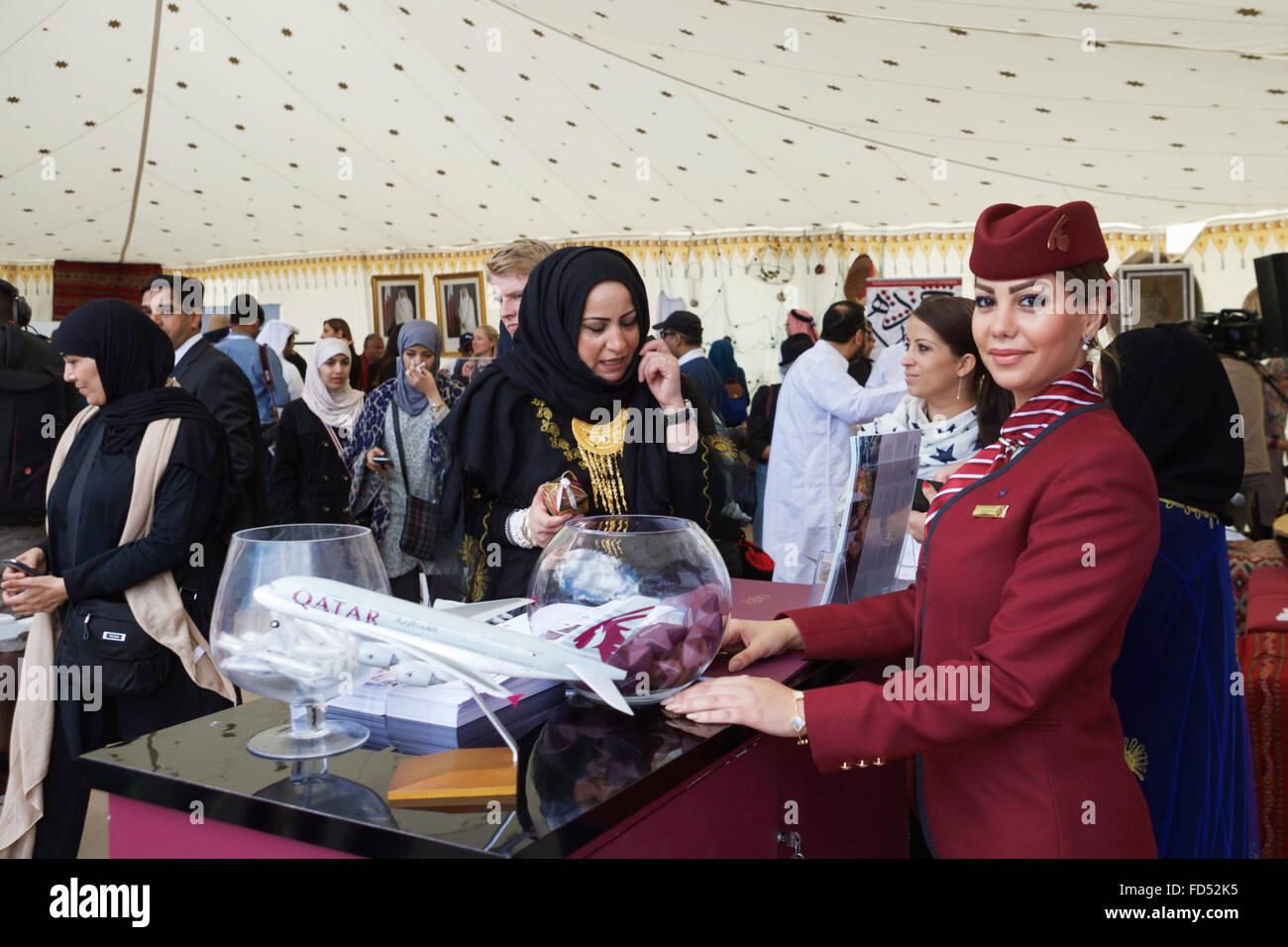 Ein Qata nahen östlichen kulturelles Ereignis, mit Qata Airways, auf dem EID Festival in London UK. Stockbild