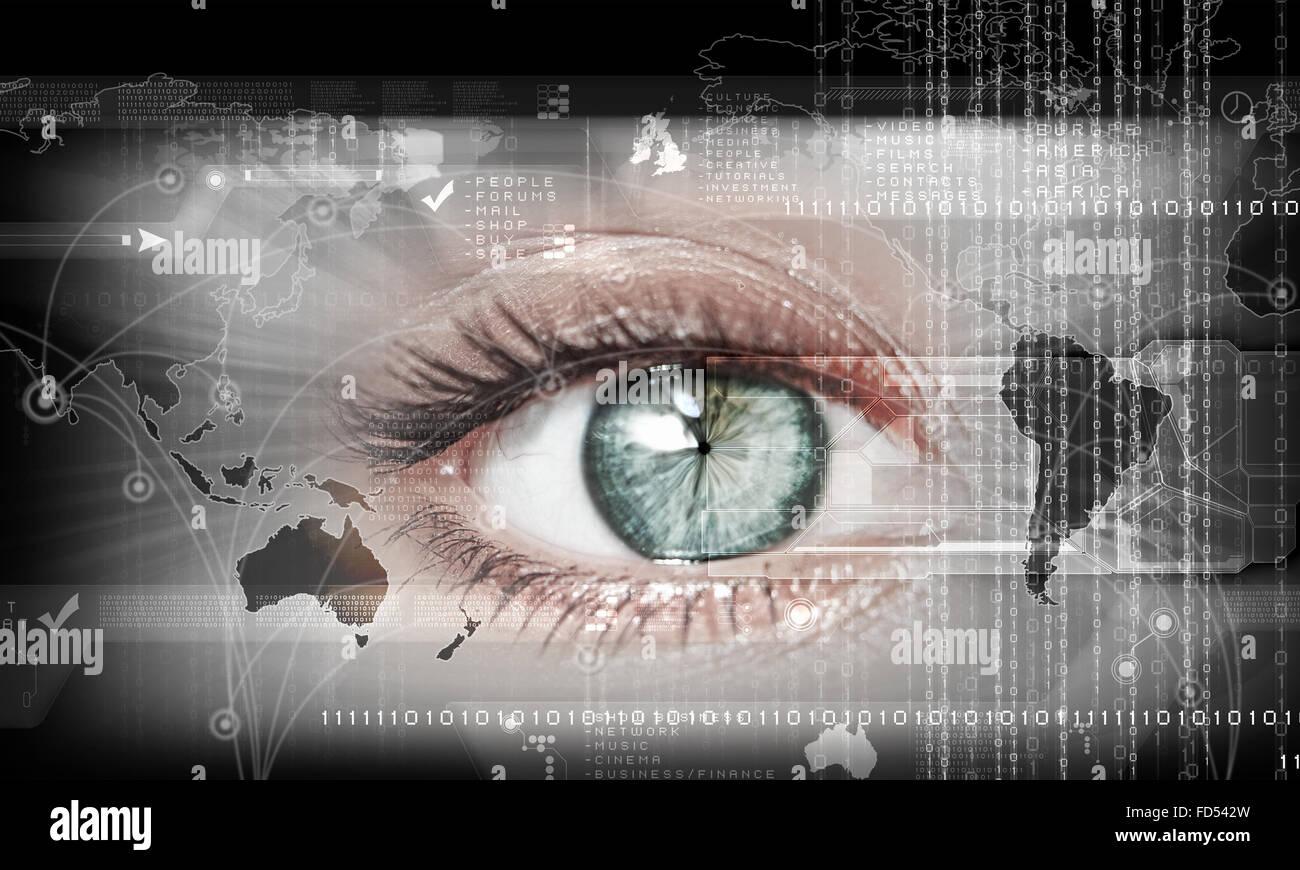 Digitales Bild des Weibes Auge. Sicherheitskonzept Stockbild