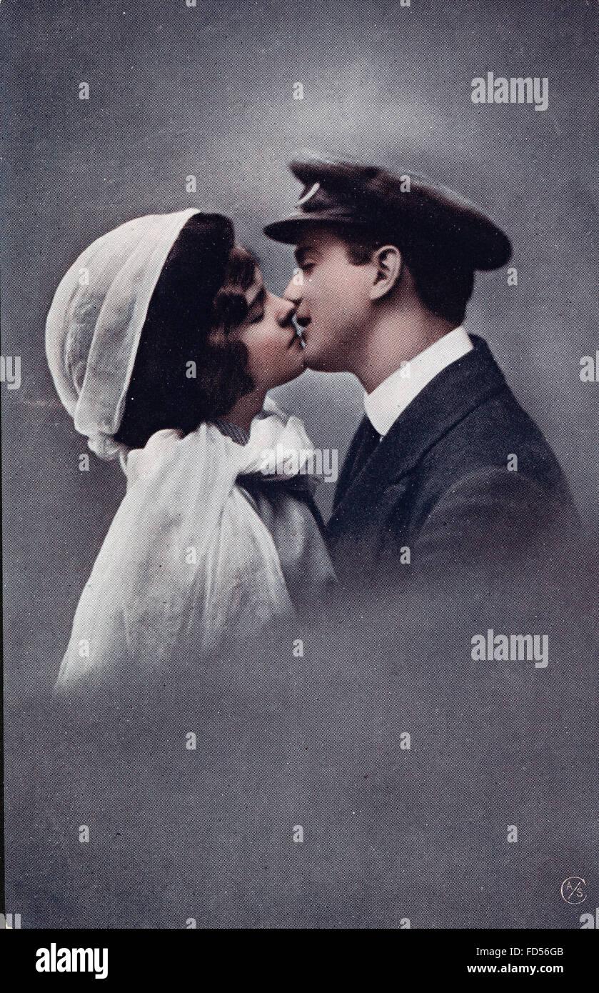 Vintage Valentine-Tageskarte Stockbild