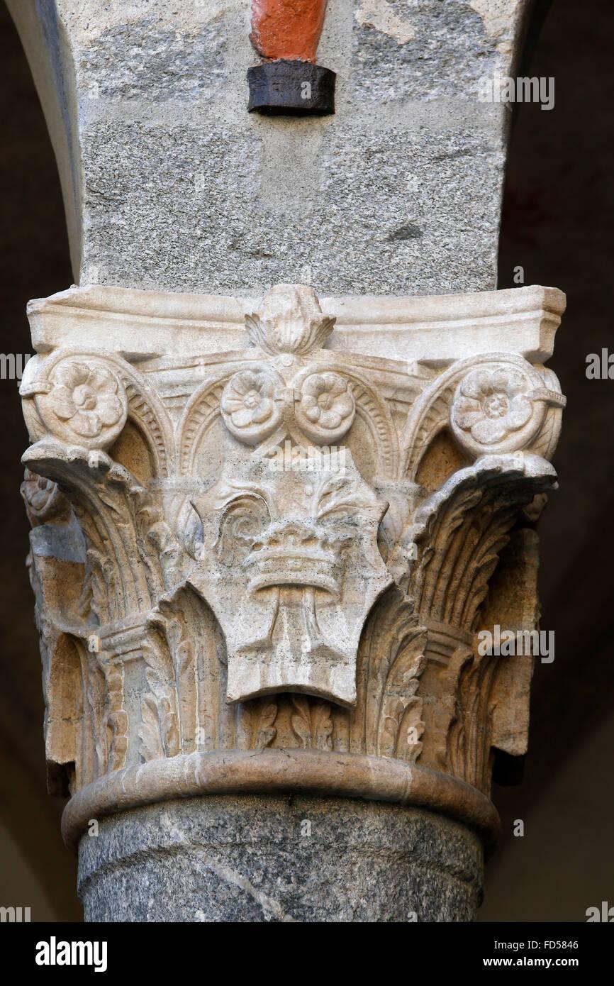 Castello Sforza. Rocchetta. Hauptstadt. Stockbild