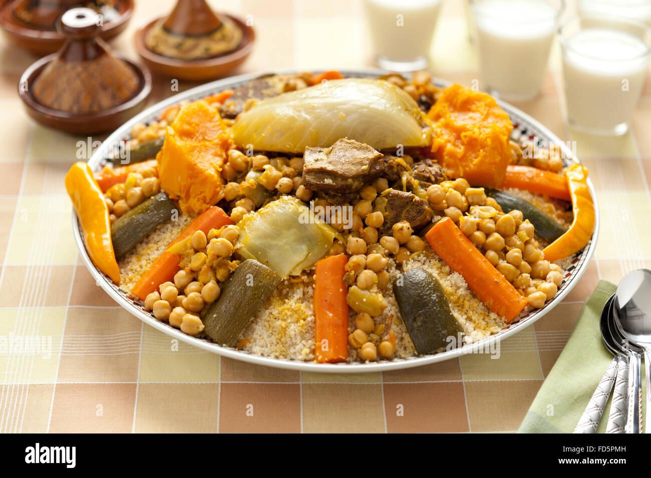 traditionelle marokkanische couscous gericht serviert mit buttermilch stockfoto bild 94169953. Black Bedroom Furniture Sets. Home Design Ideas