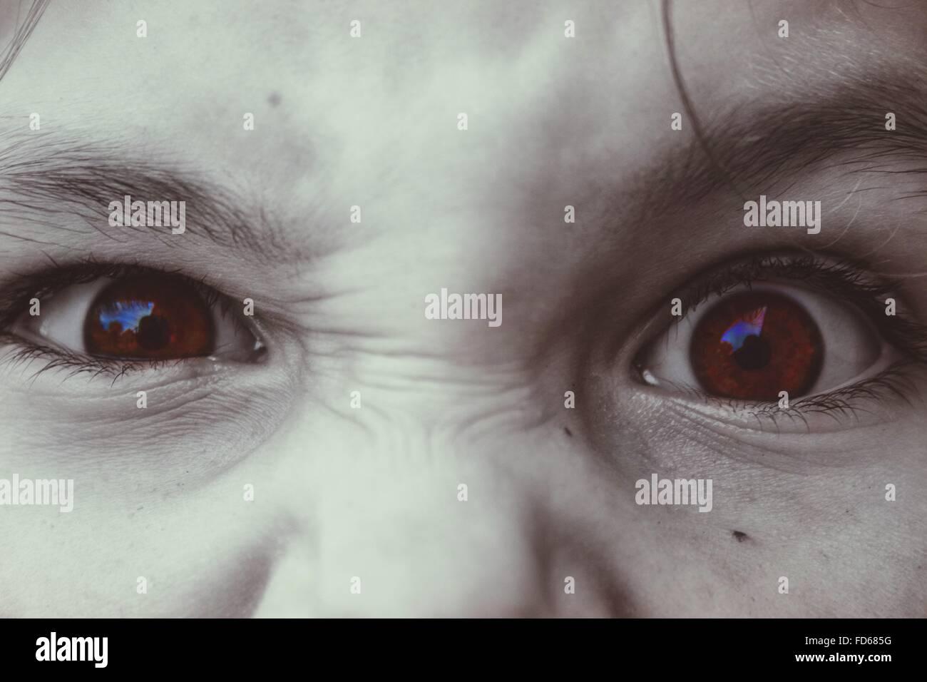 Nahaufnahme eines Kindes Augen Stockbild