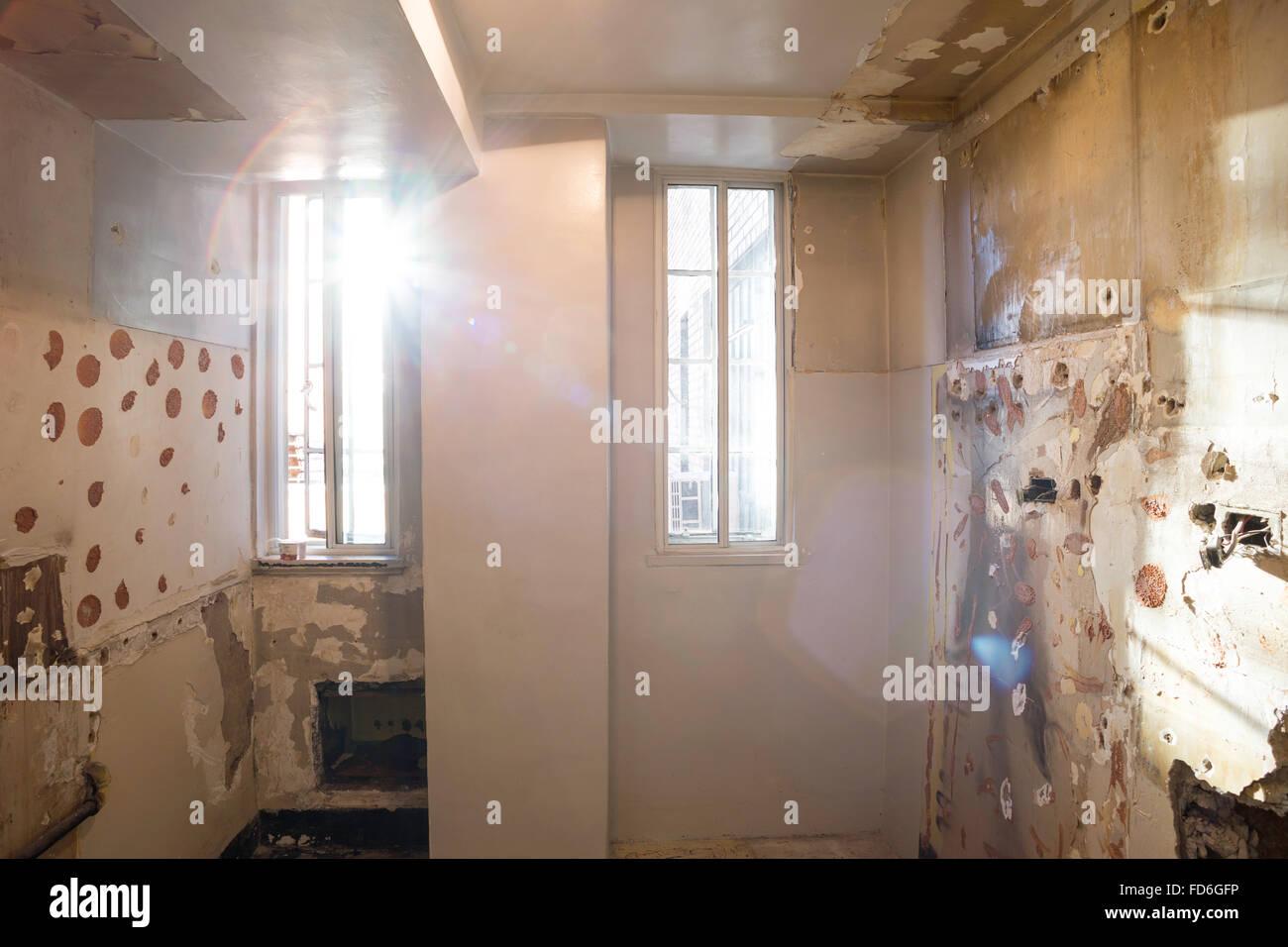 Ausgenommene Küche, Wohnung renoviert in New York City, USA ...