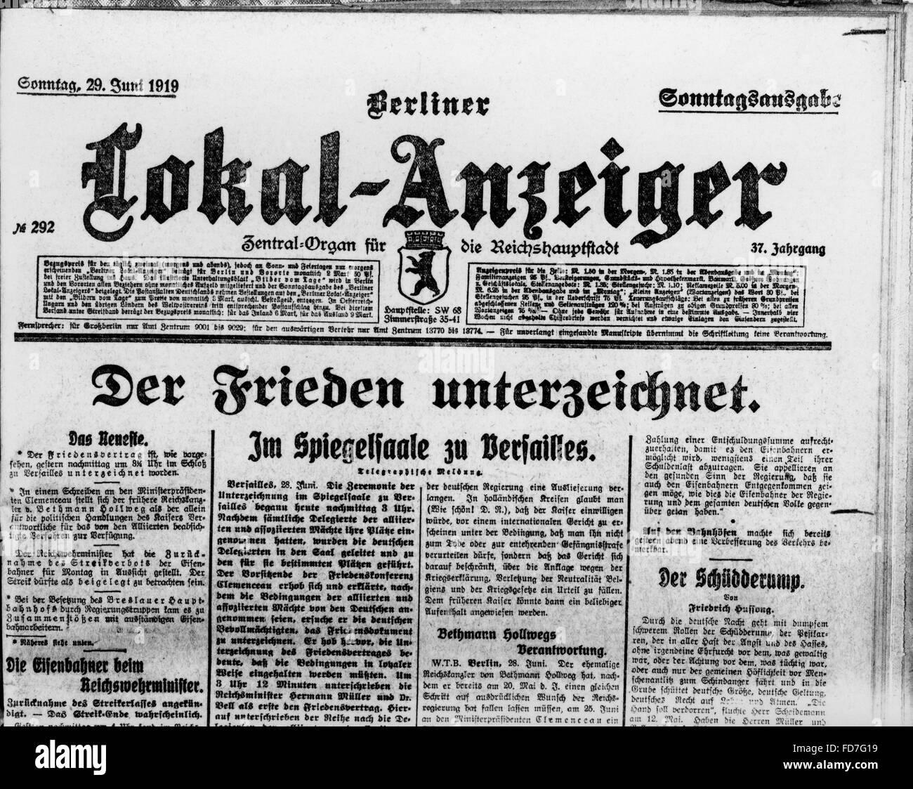 Vertrag Von Versailles 1919 Stockfoto Bild 94208613 Alamy