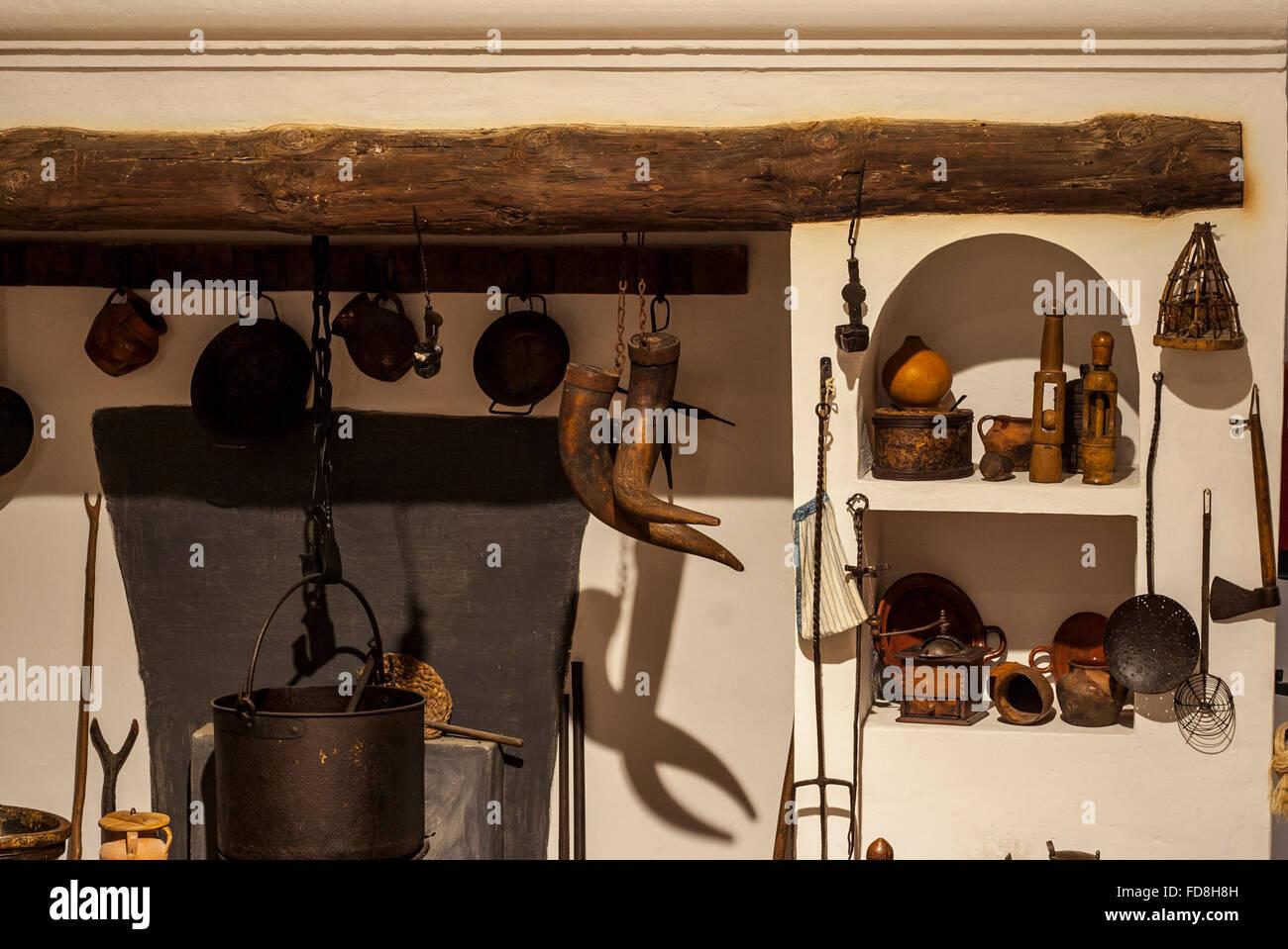 Alte Küche In Einer Primitiven Rustikalen Stil Reproduktion, Badajoz,  Spanien
