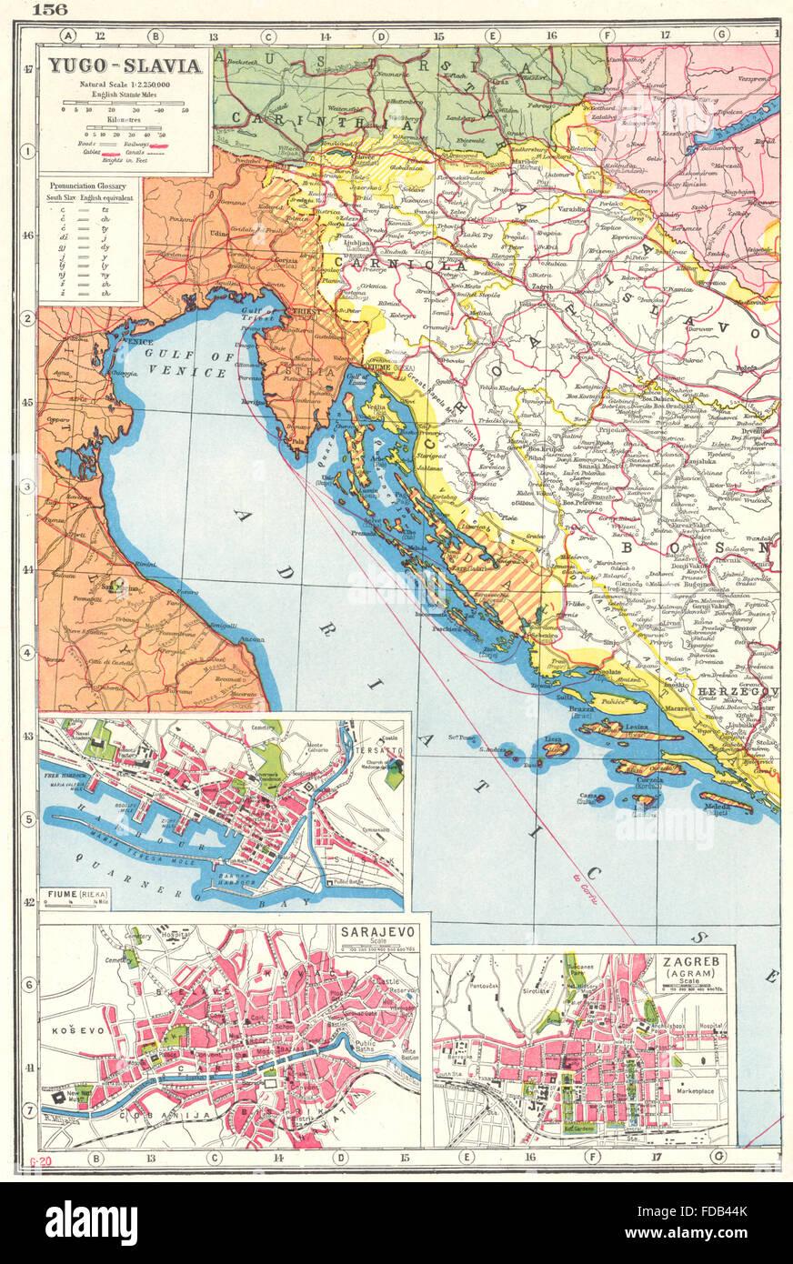 Jugoslawien Karte.Jugoslawien West Kroatien Slowenien Bosnien Inset Rijeka Sarajewo