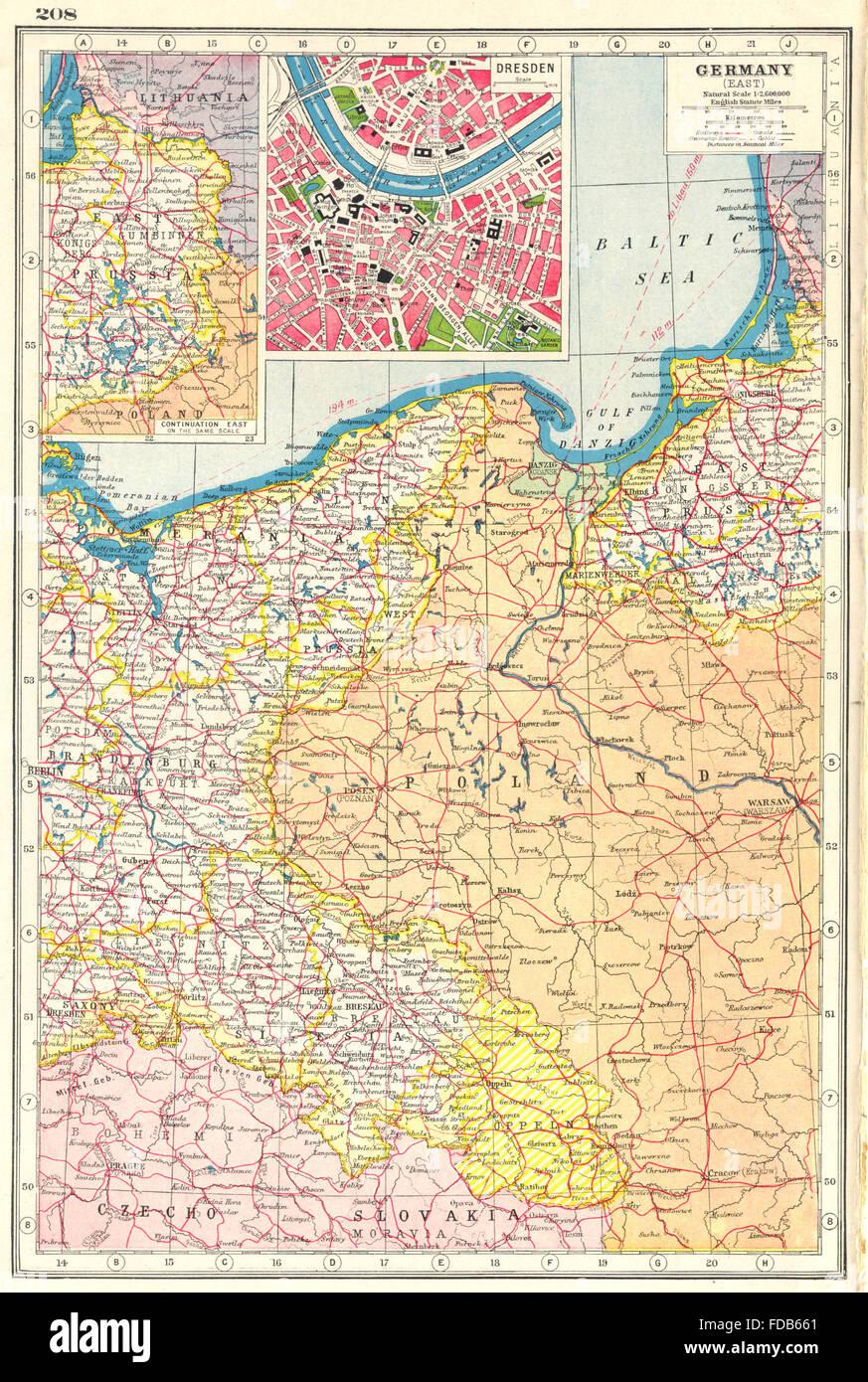 Schlesien Karte Heute.Deutschland Ost Preußen Polen Schlesien Inset Dresden Harmsworth