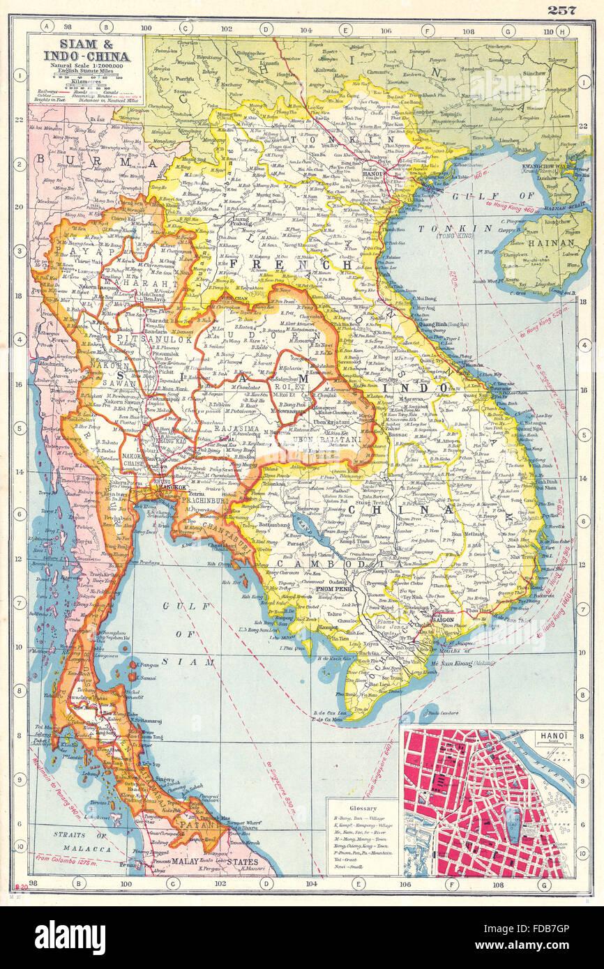 Karte Thailand Kambodscha.Französisch Indochina Siam Thailand Vietnam Kambodscha Laos Hanoi