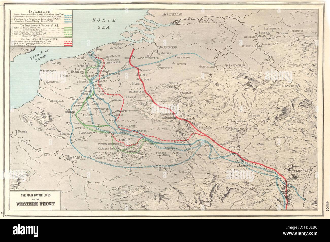 Westfront 1 Weltkrieg Karte.Welt Krieg 1 Main Kampflinien Der Westfront 1914 18 1920