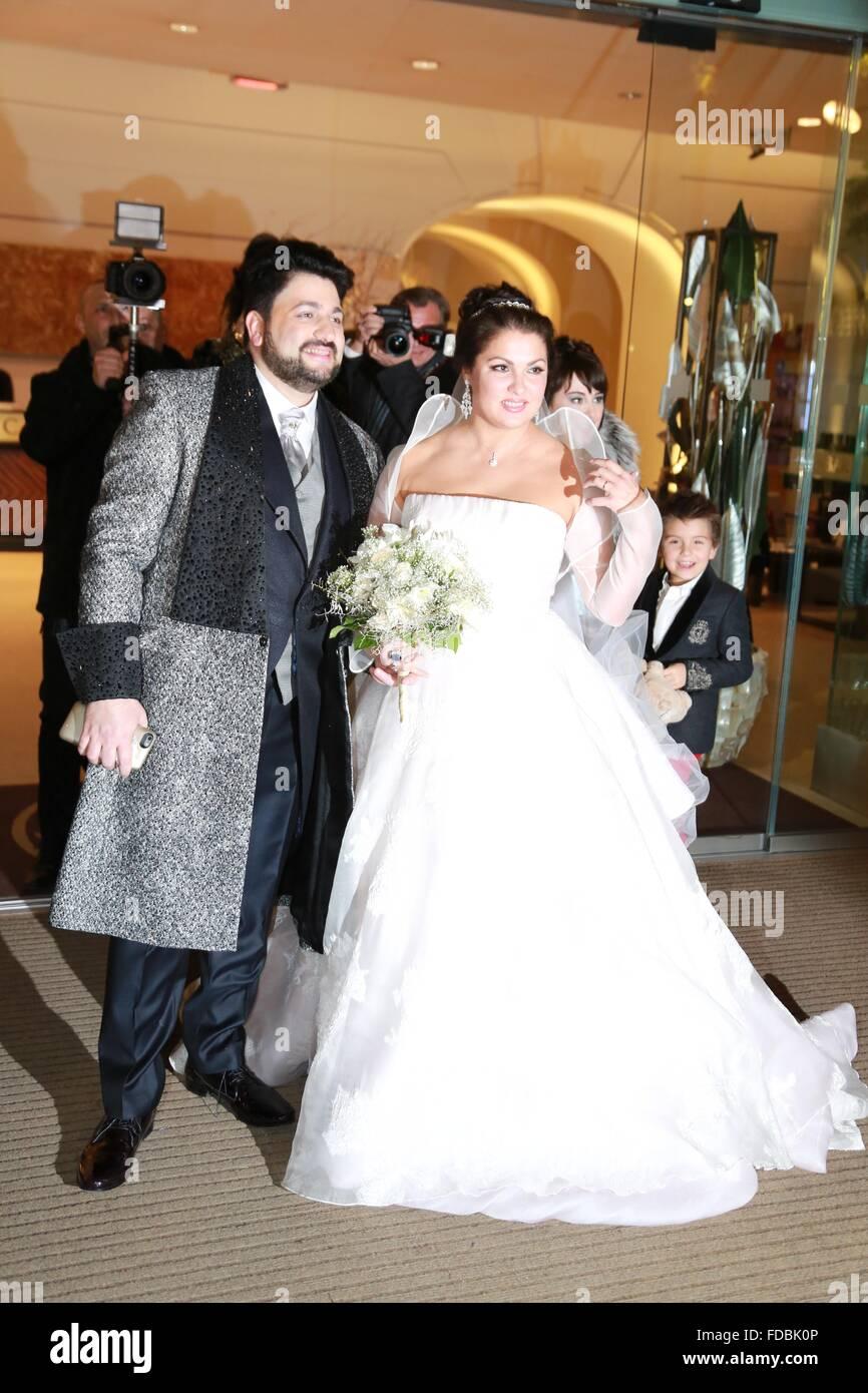 Hochzeit Von Anna Netrebko Und Yusif Eyvazov Mit Anna Netrebko Yusif Eyvazov Wo Wien Osterreich Bei 29 Dezember 2015 Stockfotografie Alamy