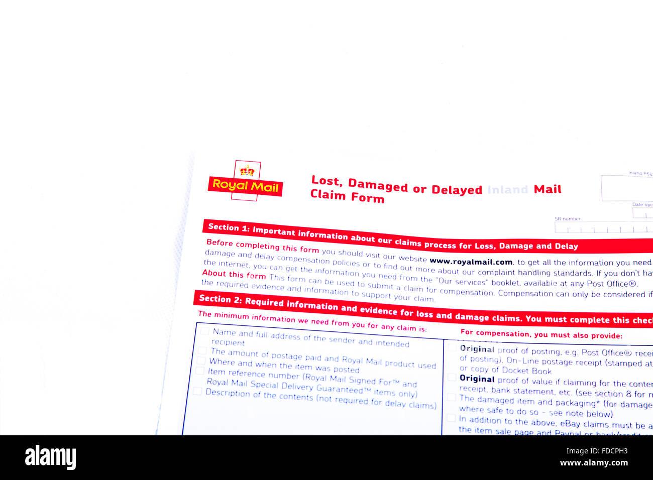 Königliche Post verloren beschädigte oder verspätete Anspruch Form Ansprüche Posten gebuchten Stockbild