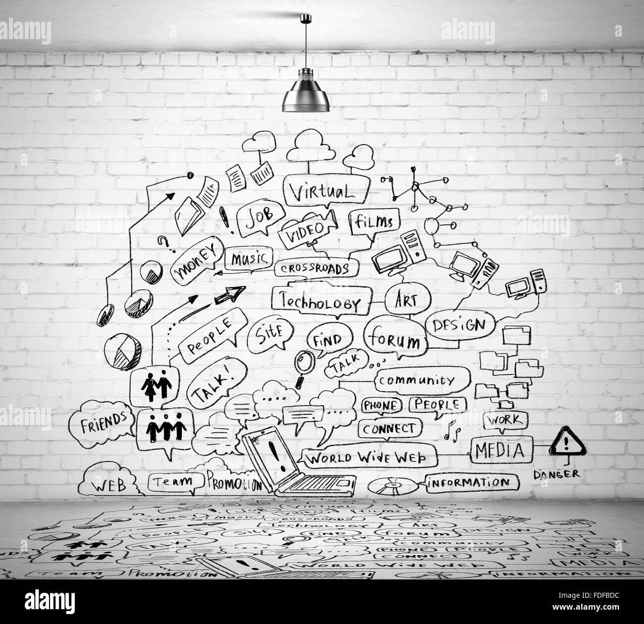 Skizze Zeichnung Mit Ideen An Wand Collage Stockfoto Bild