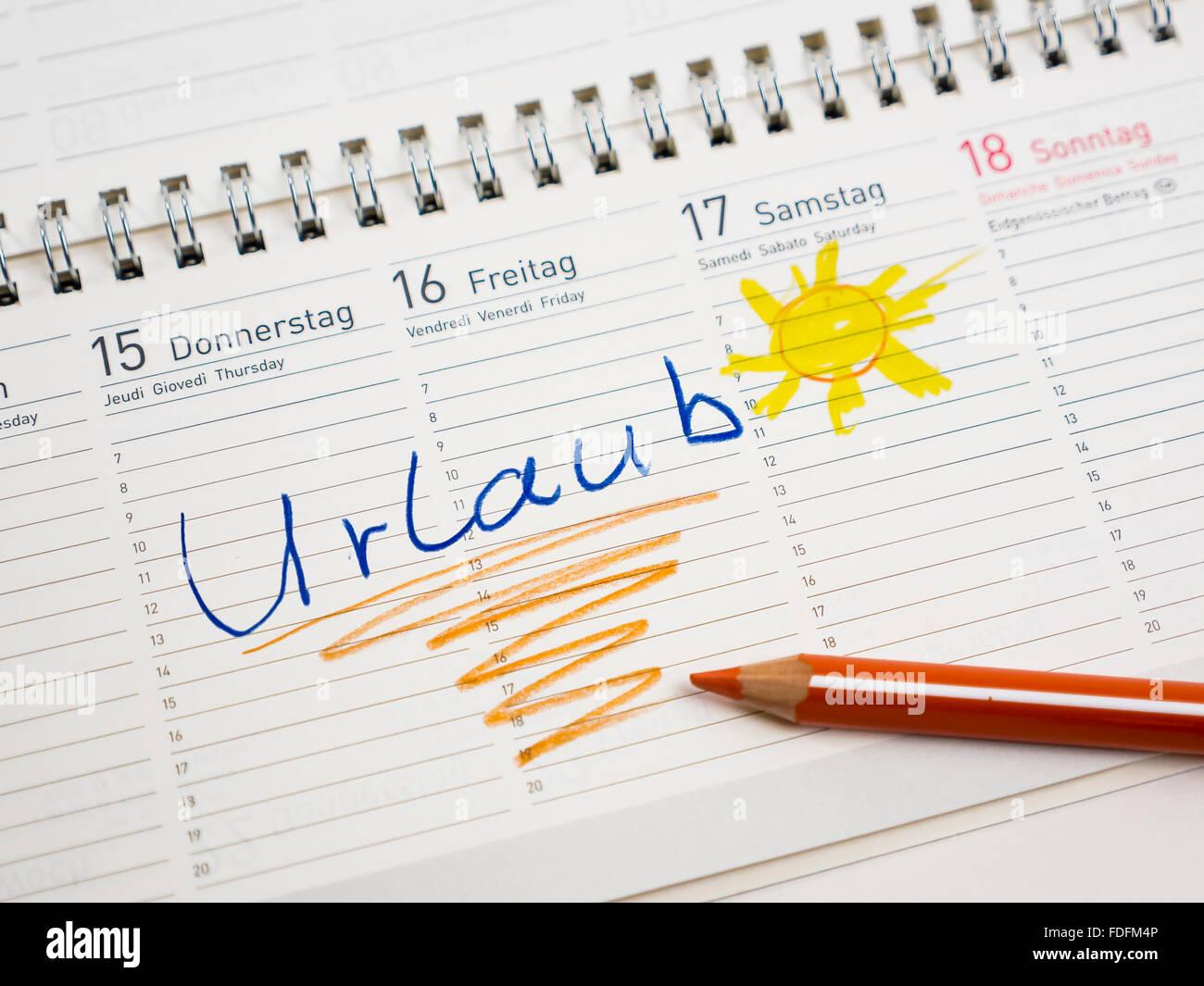 Kalender mit Datum, Urlaub oder Ferien, Urlaubsplanung Stockbild