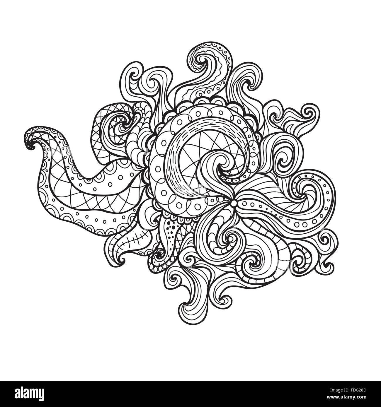 Spirale Doodle Vektorgrafik. Malbuch für Erwachsene und Kinder ...