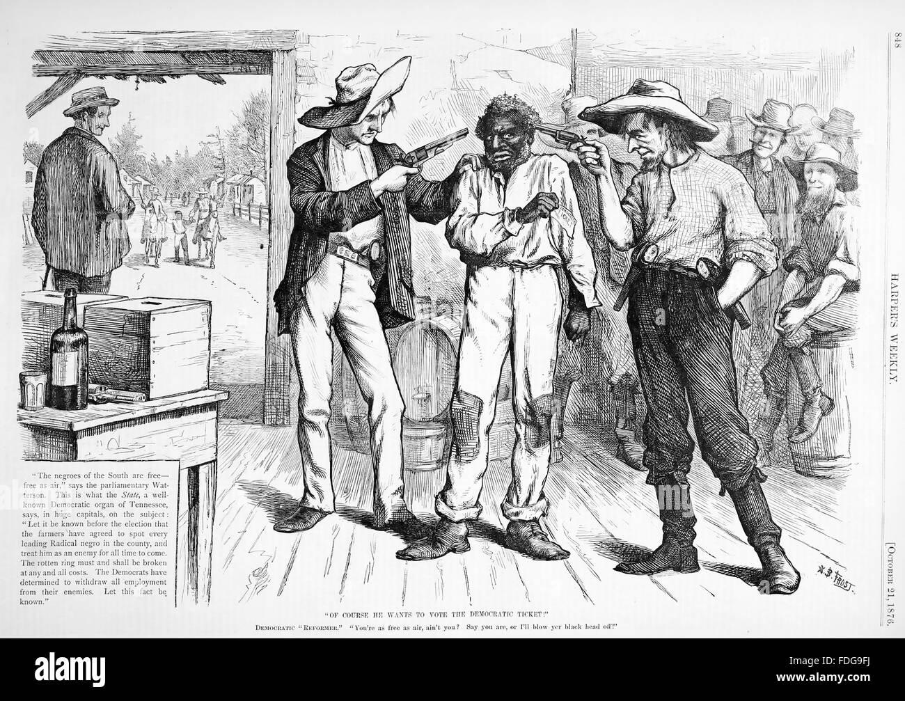 BÜRGERLICHE, Krieg Wiederaufbau Cartoon von Harper wöchentliche 21. Oktober 1876 zeigt einen gerade befreiten Stockbild