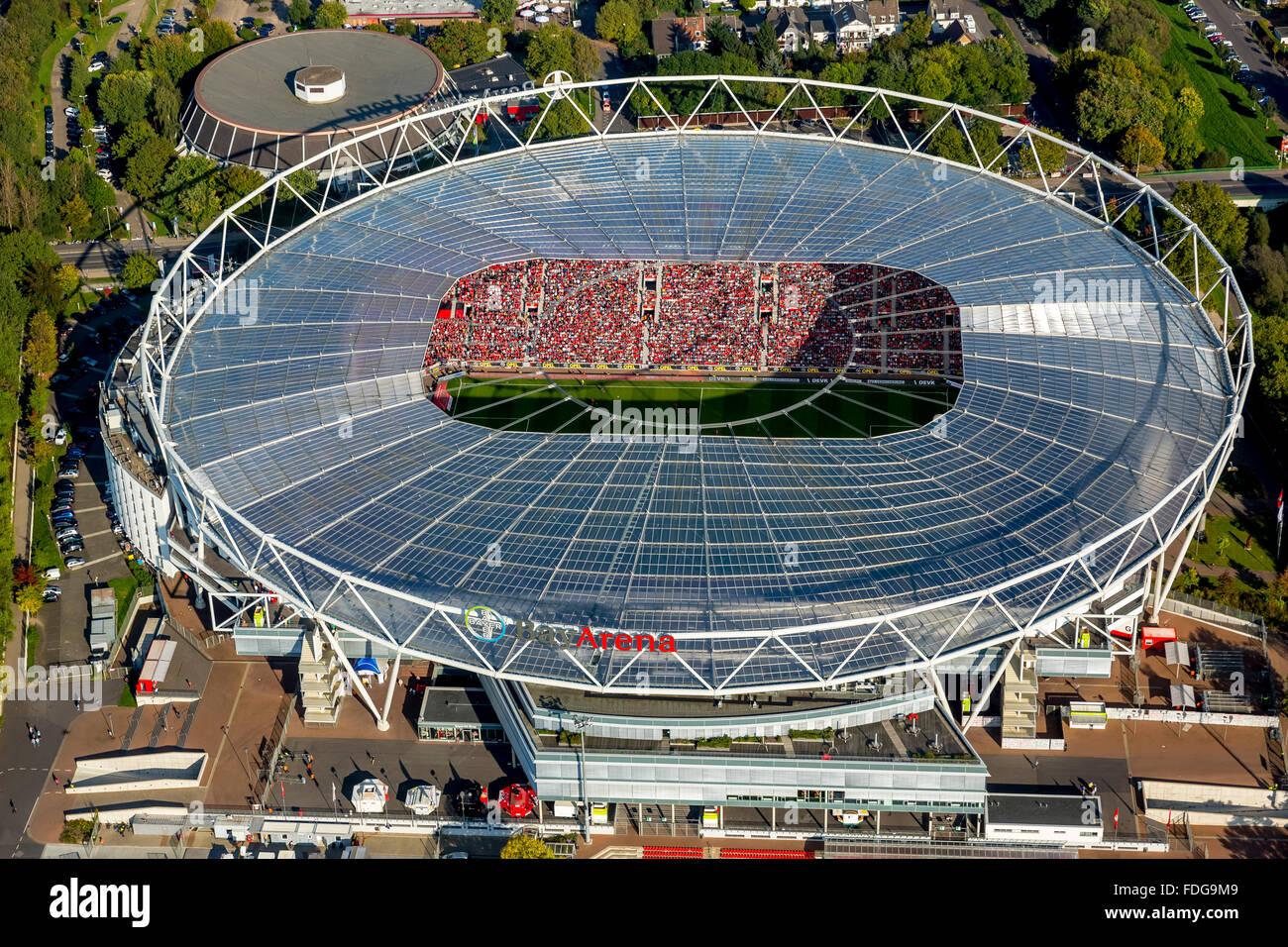 aerial view bayarena stadium stockfotos aerial view. Black Bedroom Furniture Sets. Home Design Ideas