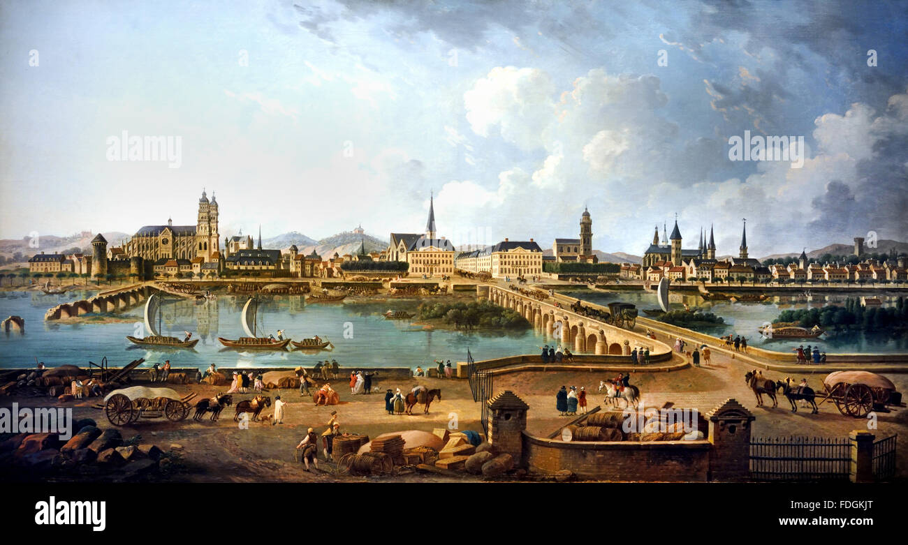 Vue Panoramique de Tours Ansicht Panorama Tours 1787 Pierre Antoine Demachy 1723-1807 Frankreich Französisch Stockbild