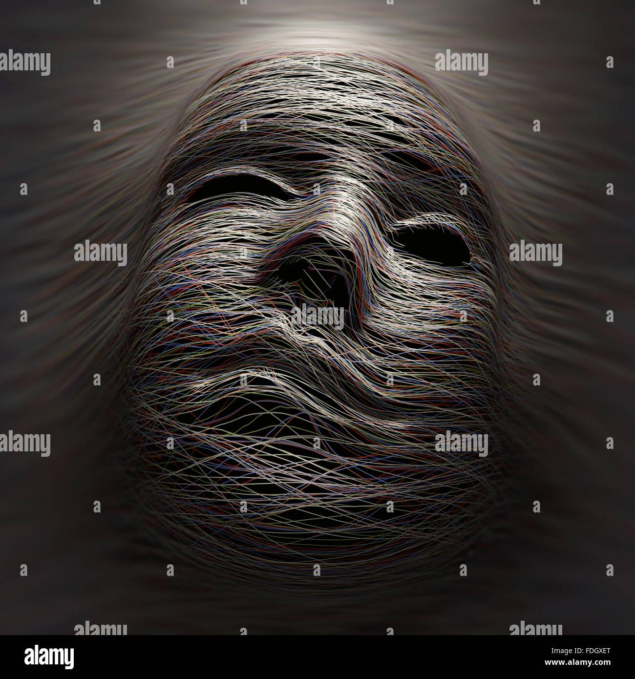 Farbige Linien für eine imaginäre Gesicht mit Ausdruck von Schmerz und Qual. Stockbild