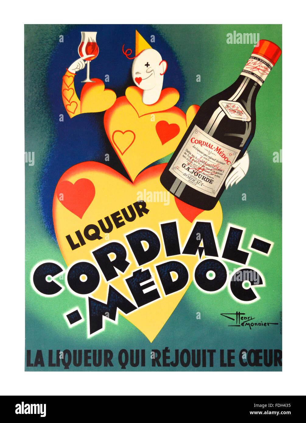 Vintage Retro-französischen Getränke Plakat für Cordial Medoc Likör ...