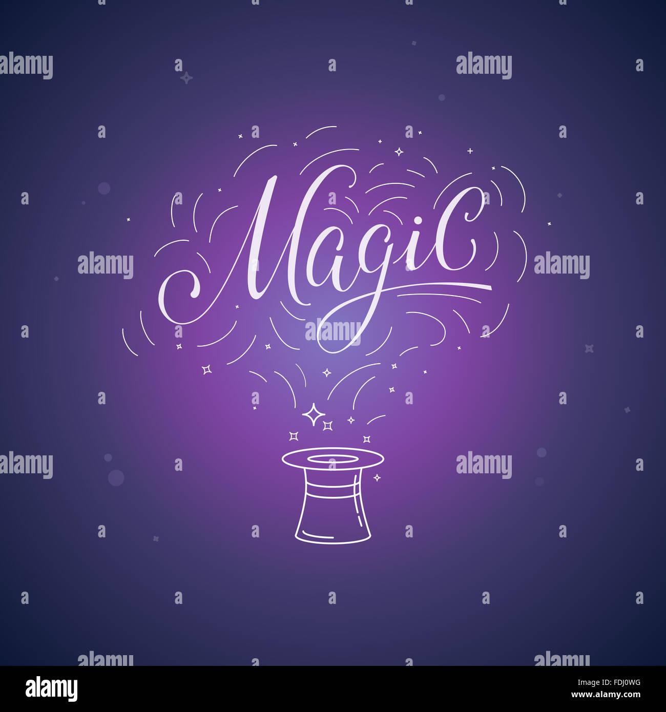 Hand-Schriftzug Magie und Illustration - Magie und Ficus Posterand-Konzept Stockbild