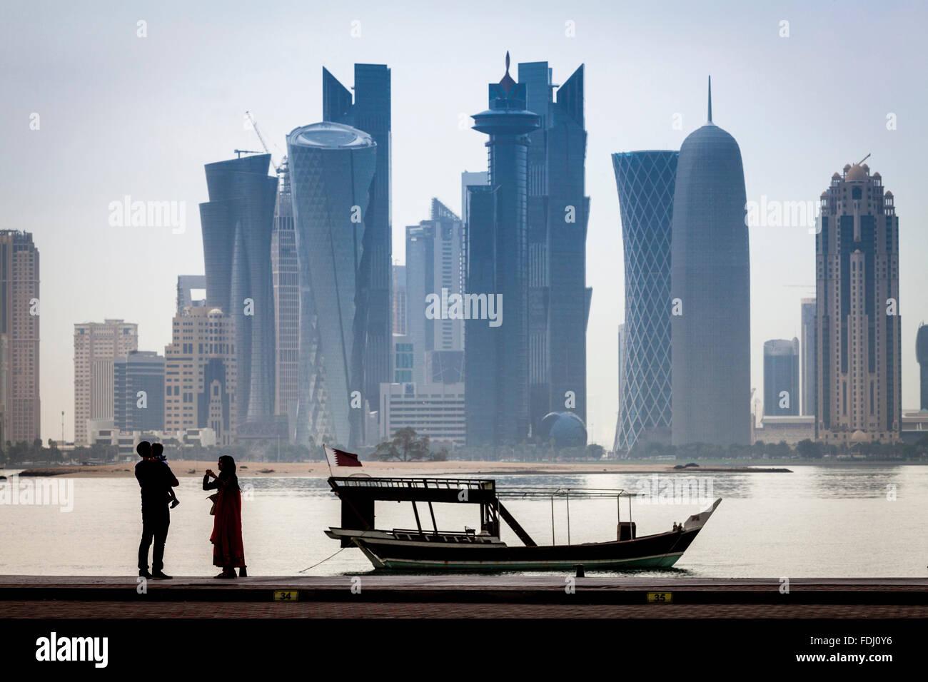 Doha Wolkenkratzer, Doha, Katar Stockbild
