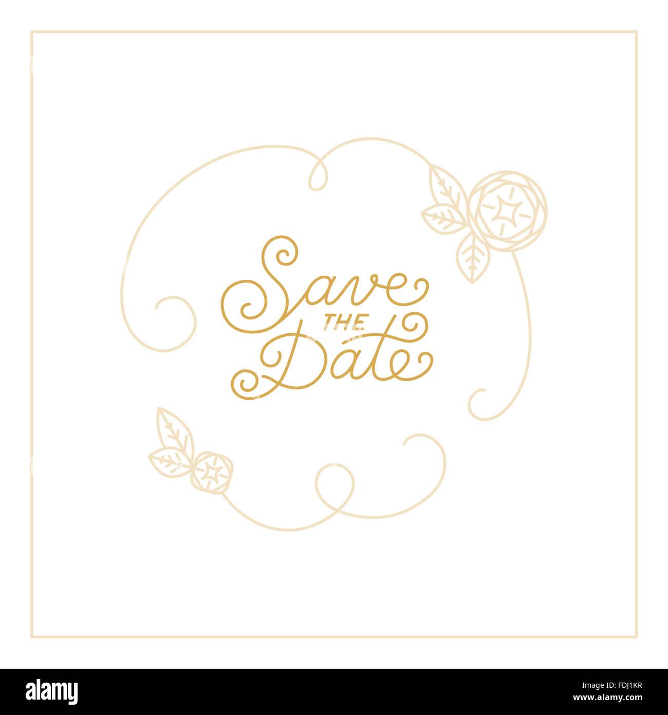 Speichern Sie die Datum-Karte Designvorlage mit Hand-Schrift und Text - Hochzeit Einladung Gestaltungselement im Stockbild