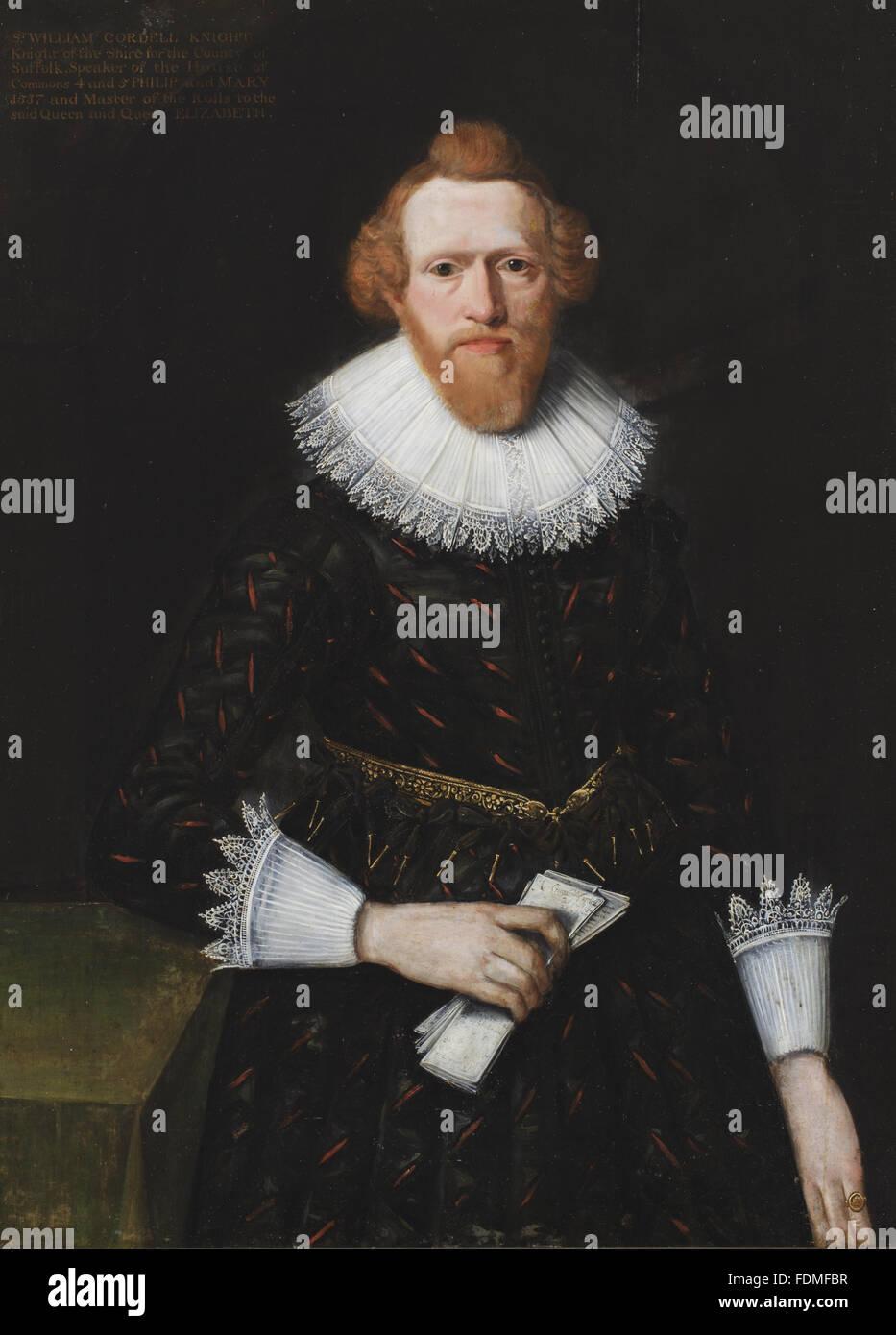 SIR WILLIAM CORDELL Kt, (1522-1581), c.1620, c.1625, britische (englische) Schule an Melford Hall in Suffolk genannt. Stockbild