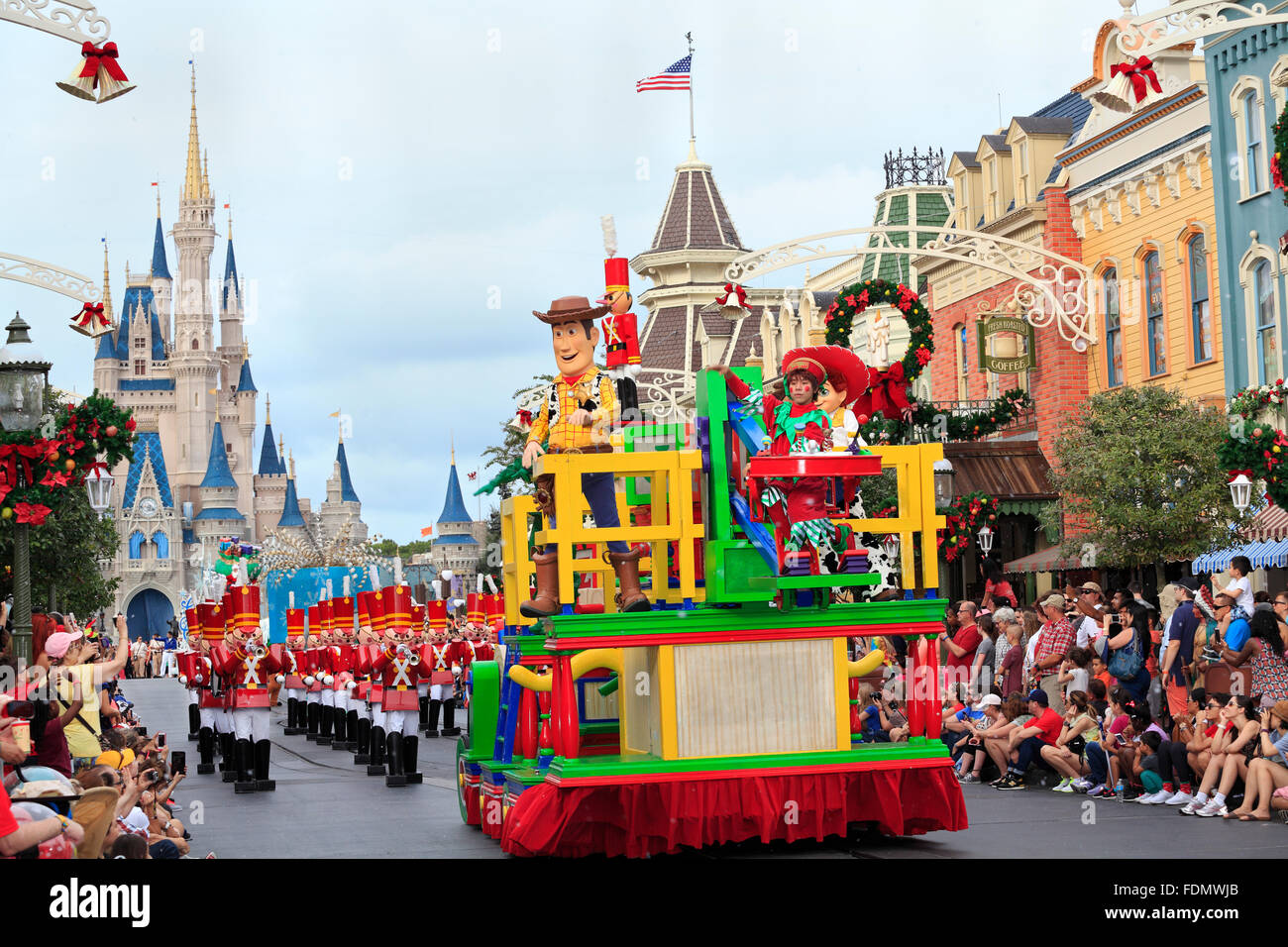 Christmas Parade im Magic Kingdom, Orlando, Florida Stockbild