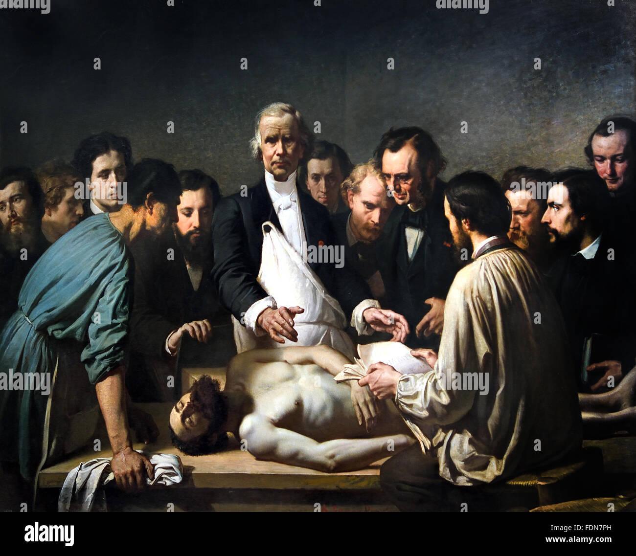 Velpeau dirigiert die Autopsie einer Leiche am Klinikum Charite ...