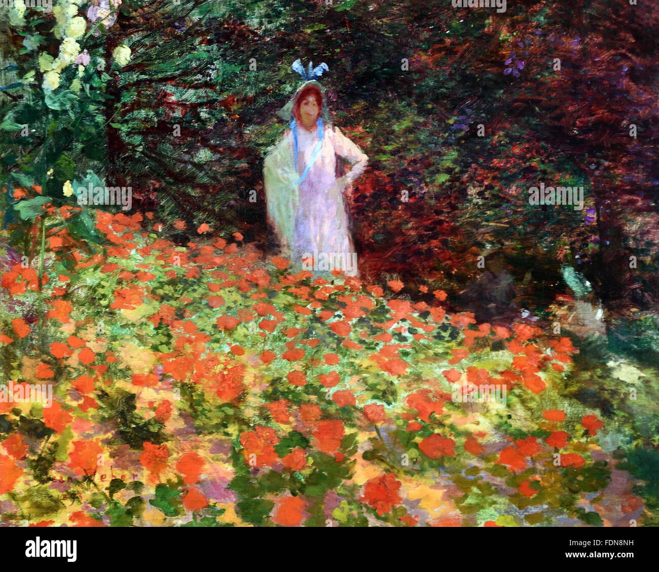 Jeune Femme Dans un Jardin Fleuri - junge Frau in einem Blumengarten ...