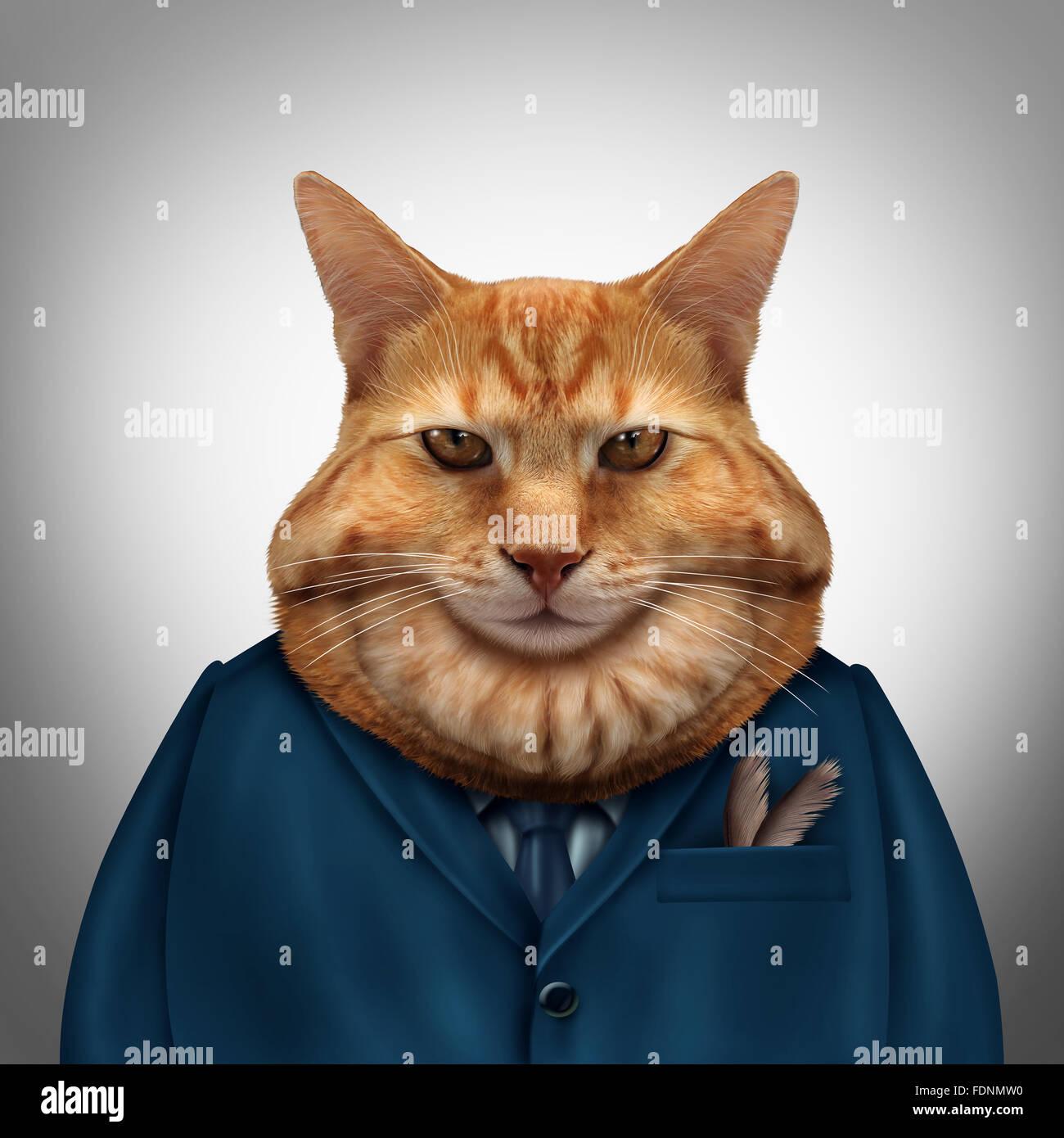 Business-Fat-Cat-Charakter als feline Tycoon Geschäftsmann Zeichen als Symbol für einen wohlhabenden Chef Stockbild