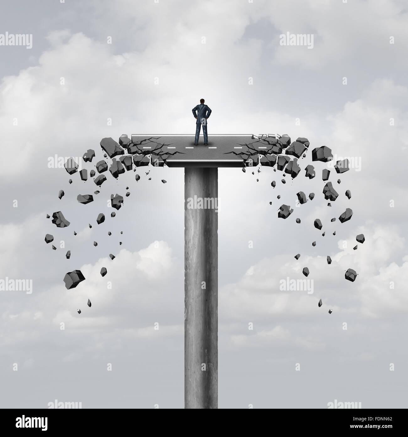 Verbindung oder Geschäftskonzept und brechen Beziehungen als eine Straße auf einer Brücke brechen Stockbild